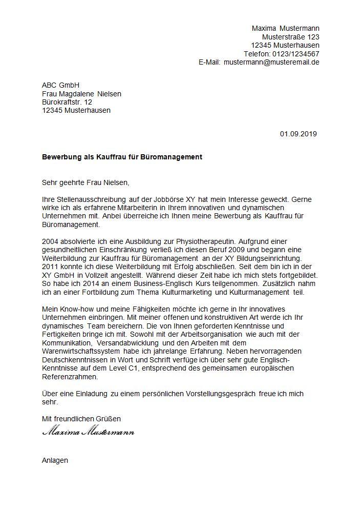 Kaufmann Büromanagement Bewerbung