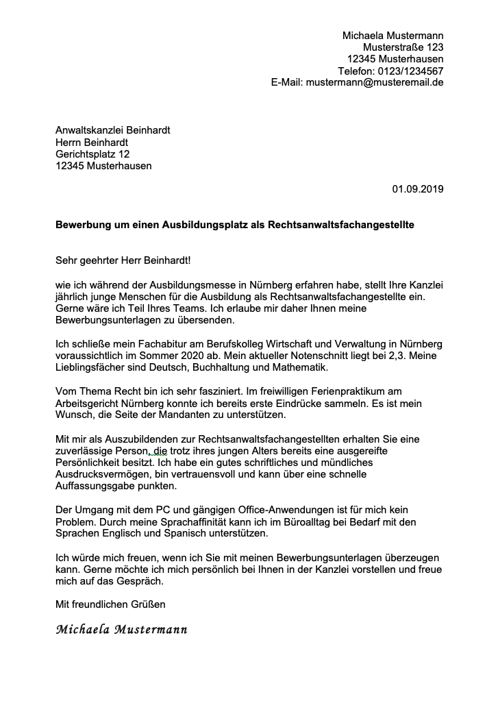 Anhang Mustervorlagen In Deutscher Sprache