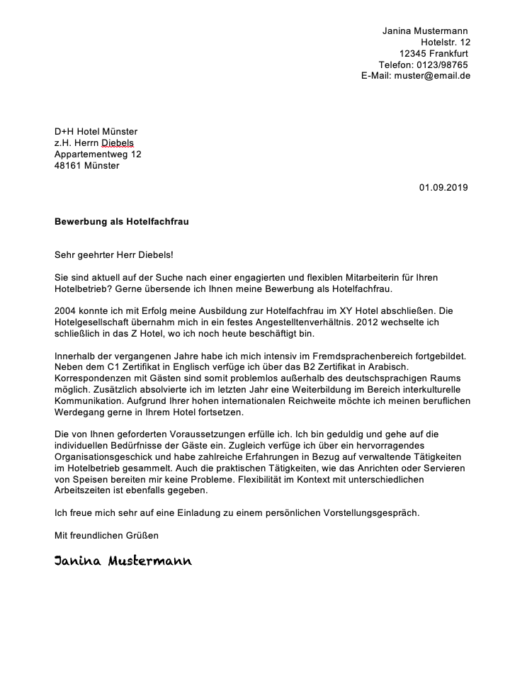 ᐅ Bewerbungsschreiben Hotelfachfrau Hotelfachmann