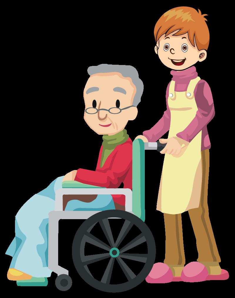Altenpfleger Krankenpfleger mit Rollstuhl
