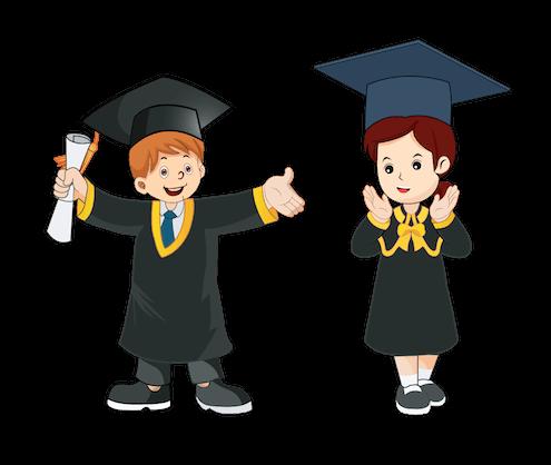 Zwei Studenten nach Abschluss